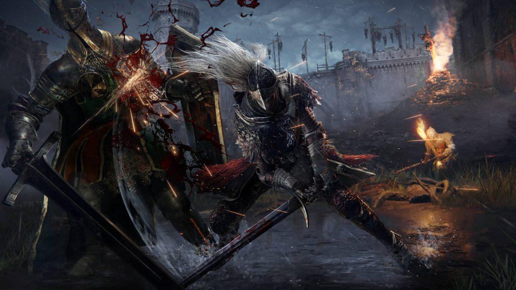 Cavalieri Elden Ring che combattono