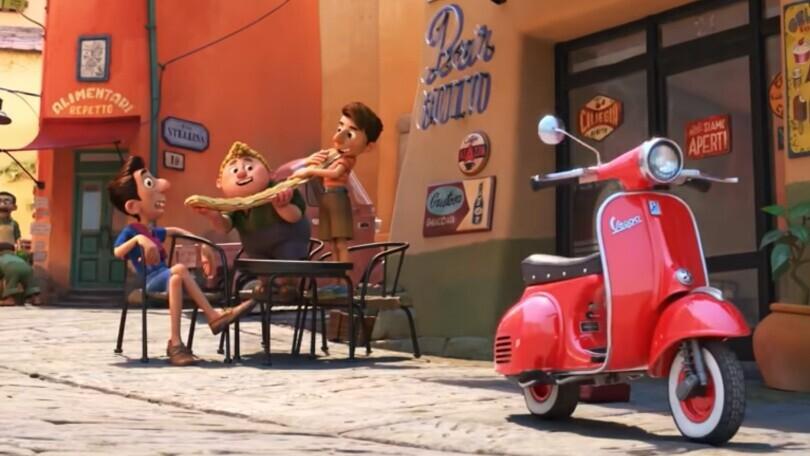 Luca e amici mangiano panino, Vespa